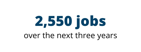 2,550 jobs over the next three years
