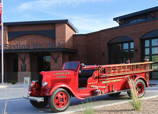 ​  The Old Dodge, Chandler's first fire engine, is on display in the lobby of Fire Headquarters. ​
