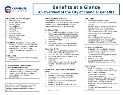 2021 City of Chandler Active Employee Benefits at a Glance
