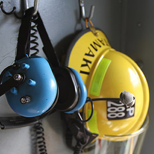 Firefighter helmet and headset