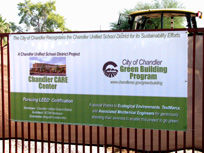 Green Building sign infront of Chandler Care Center construction site