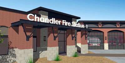 Architectural rendering of Chandler Fire Station 1