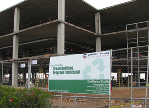Green Building sign infront of Orbital Sciences construction site
