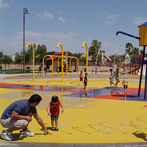 Local kids enjoying Espee Park Spray and Splash Pad