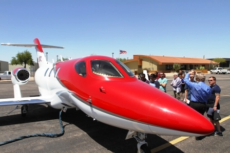 photo of honda jet on tarmac
