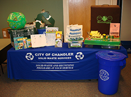 photo of landfill model and recycling kits