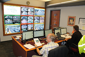 Photo showing staff monitoring traffic on video screens