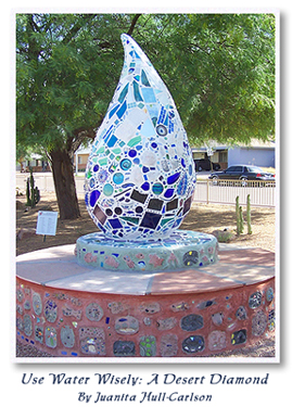 Xeriscape garden water drop artwork