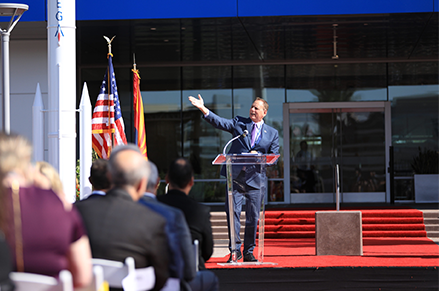 Mayor Kevin Hartke giving remarks during Northrop Grumman ribbon-cutting ceremony