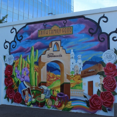 "Serrano's – Faith Family Food mural by Noe ""Such Styles"" Baez and his son Champ"