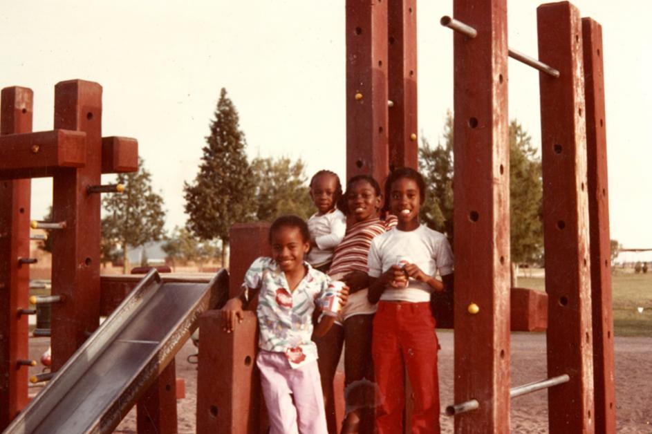 Chandler Park 1970s Metal Slide and Wooden Playground