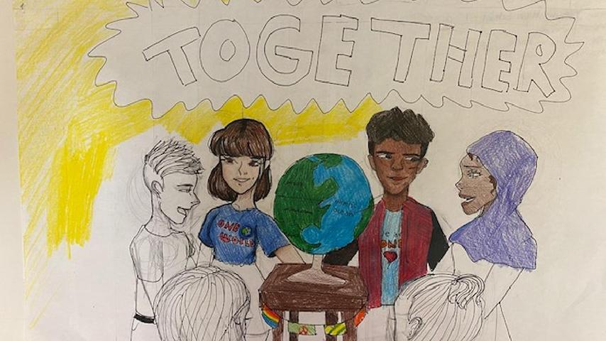 "1st Place: 5th – 8th Grade Alexia G. | ""Different Races Together Around the World"""
