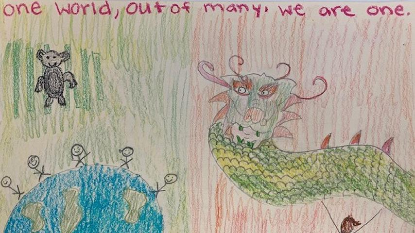 "3rd Place: K – 4th Grade Camryn S. | ""One World"""