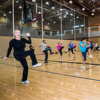 Group fitness class at Tumbleweed Recreation Center