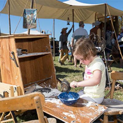 A young cook at the 2017 Chuck Wagon Cookoff