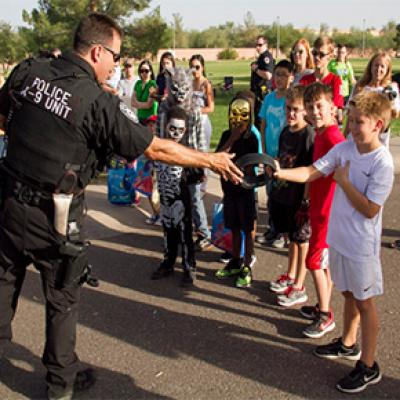 Chandler PD engaging with a group of young residents