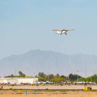 Small plane taking off at CHD