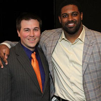 Chandler Museum Staff Liason Nate Meyers with inductee Cameron Jordan, 2012.