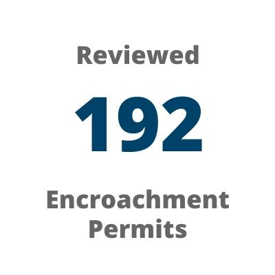 Reviewed 192 encroachment permits