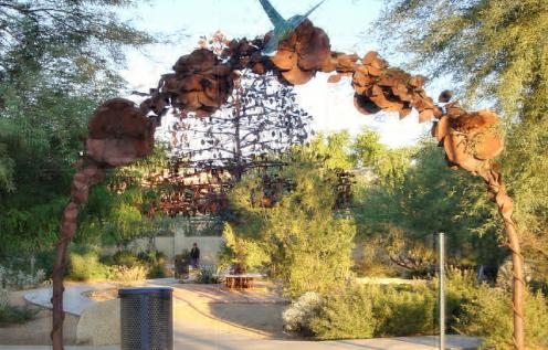 Iron arch at the entrance of the Hummingbird Habitat