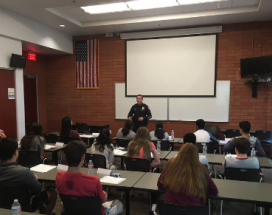 Chandler Police Chief addressing a class future leaders