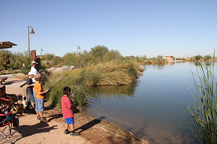 The lake at Veterans Oasis Park is a site for reclaimed water groundwater recharge.