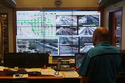​  The City's Traffic Management Center has access to feeds from more than 225 traffic lights in Chandler. ​